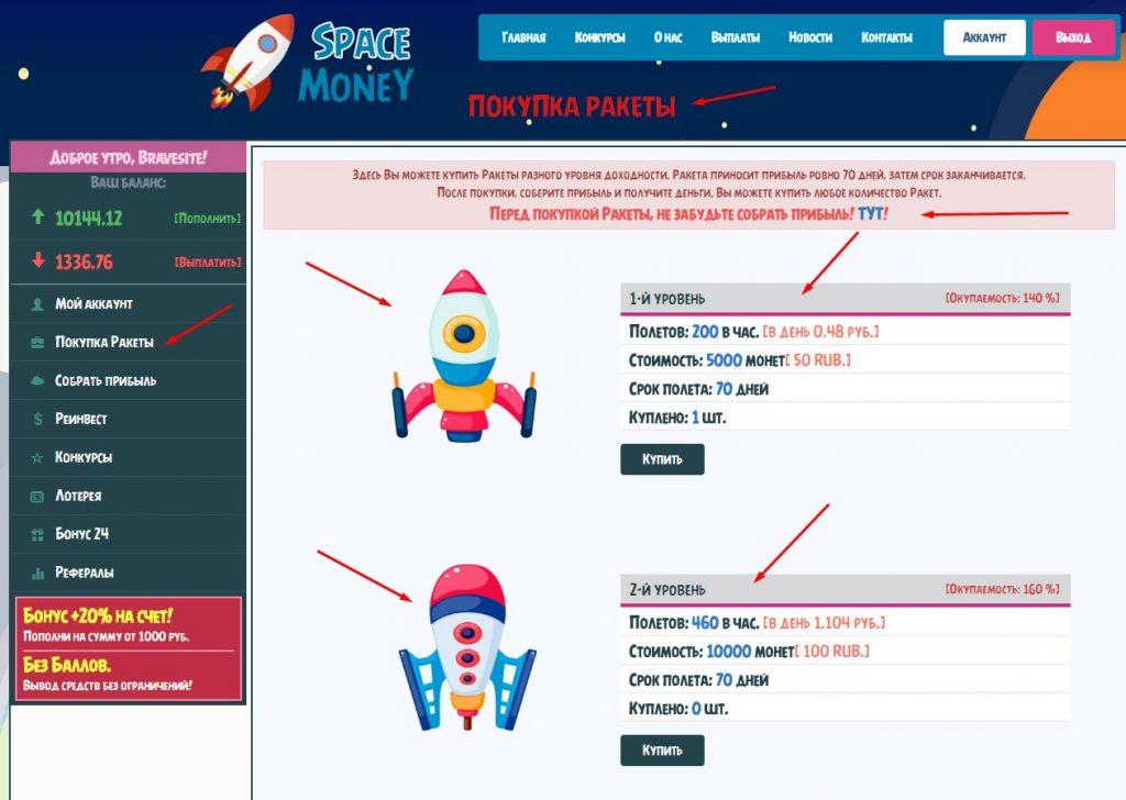 скрипт онлайн игры SpaceMoney